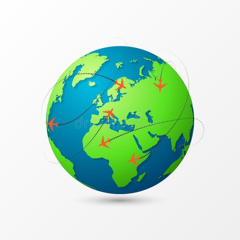 Samoloty latają wokoło planety ziemi samochodowej miasta pojęcia Dublin mapy mała podróż ilustracji