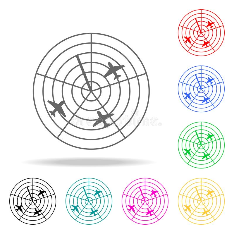 samoloty na radarowej ikonie Elementy Lotniskowe wielo- barwione ikony Premii ilości graficznego projekta ikona Prosta ikona dla  ilustracji