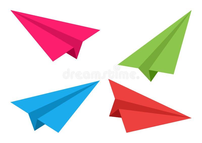 samoloty ustawiają Papierowy origami również zwrócić corel ilustracji wektora ilustracja wektor