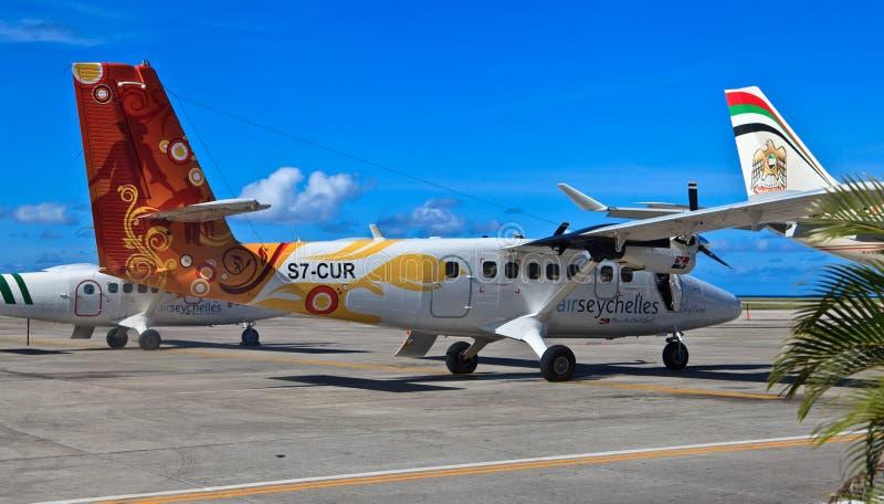 Samoloty w Mahe lotnisku zdjęcia royalty free