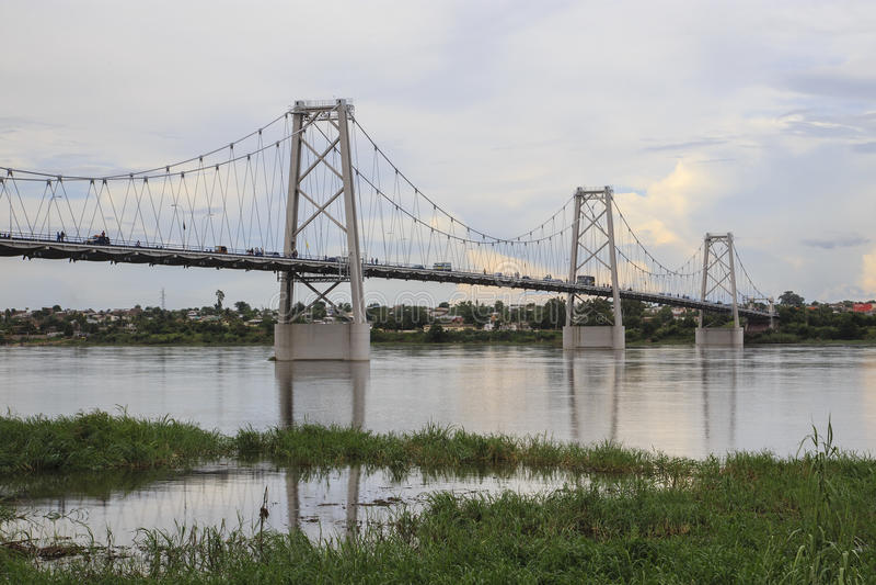 Samora Machel Bridge- Ponte Samora Machel. Samora Machel Bridge is a bridge in Mozambique across the Zambezi River. It is named after Samora Machel, the former royalty free stock image