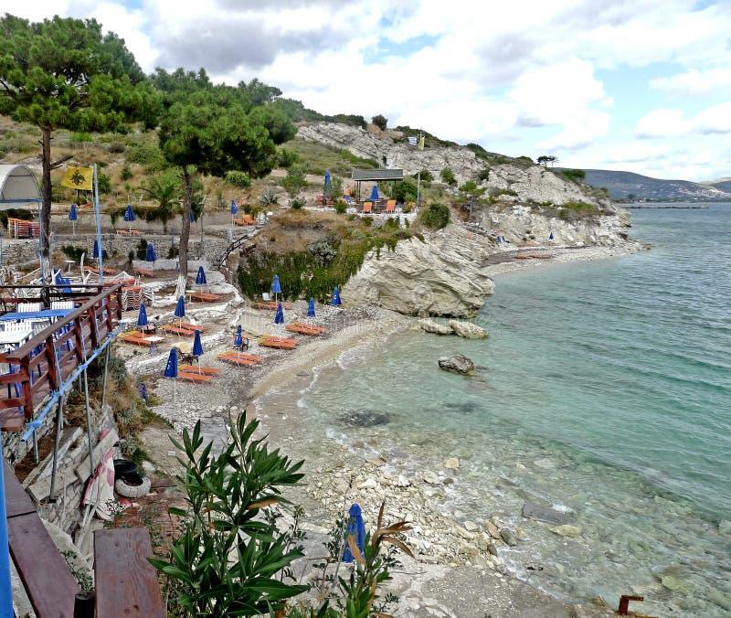A beach on the island of samos greece stock images