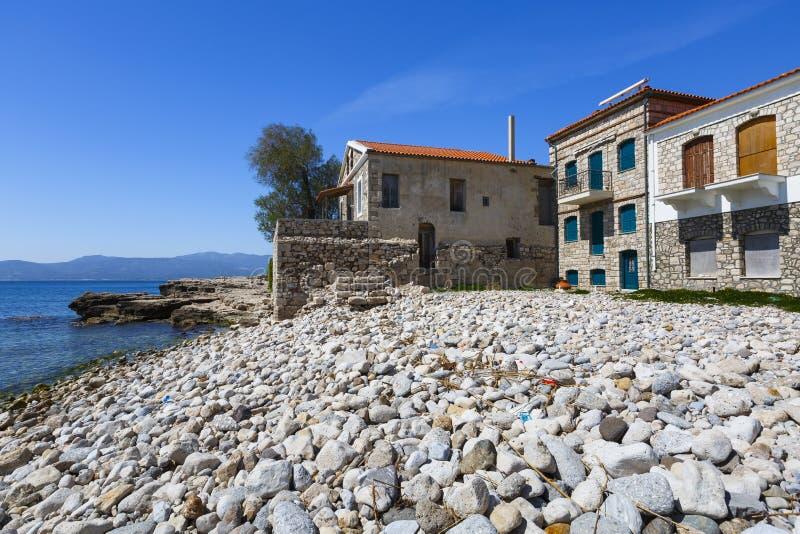 Samos island. Beach in Pythagorio town on Samos island, Greece royalty free stock image