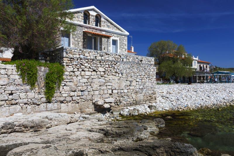 Samos island. Beach in Pythagorio town on Samos island, Greece royalty free stock photo