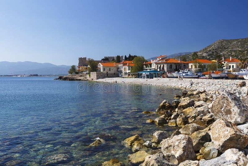 Samos island. Beach in Pythagorio town on Samos island, Greece royalty free stock photos