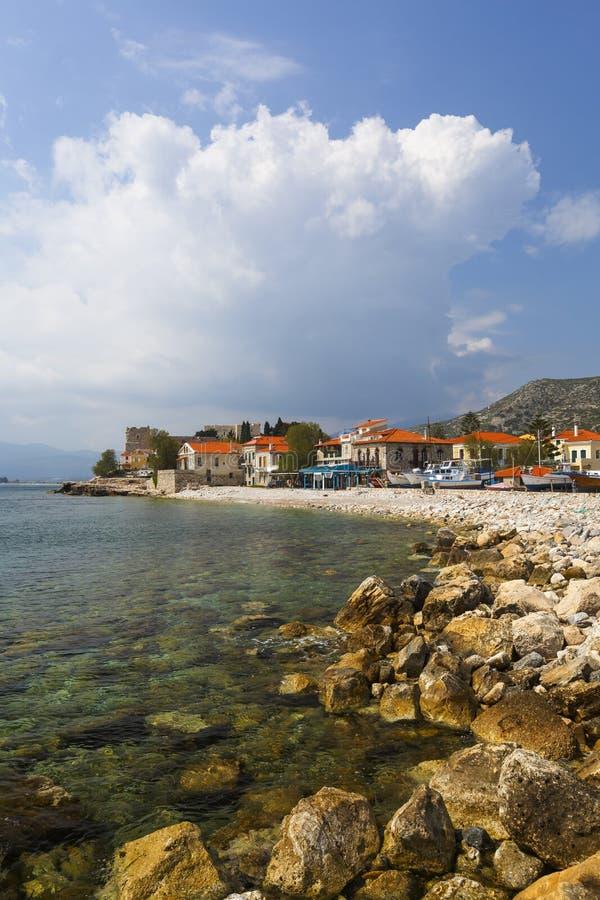 Samos island. Beach in Pythagorio town on Samos island, Greece stock photography