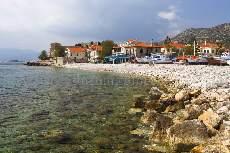 Samos island. Beach in Pythagorio town on Samos island, Greece stock image