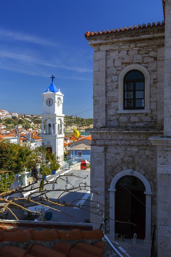 Samos island. Church in Pythagorio town on Samos island, Greece stock photos