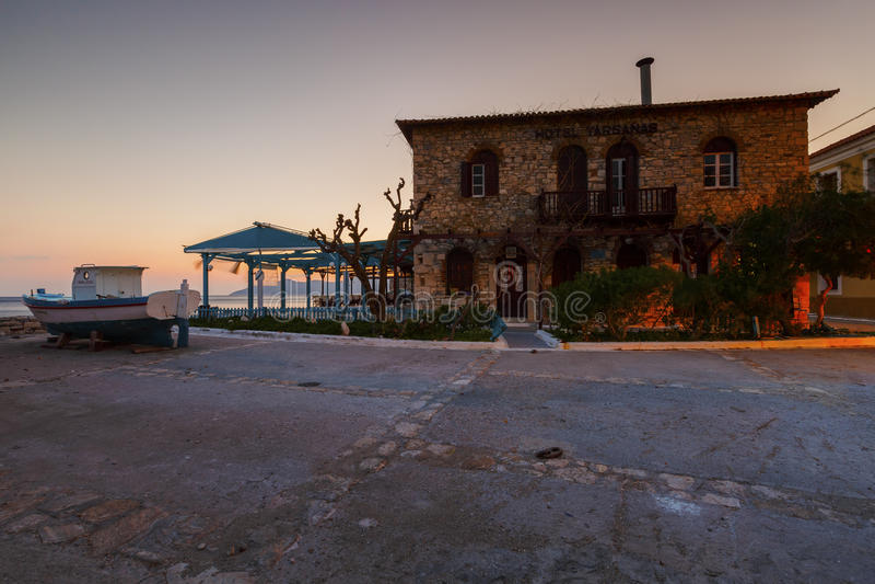 Samos island in Greece. Hotel in Pythagorio town on Samos island, Greece stock images