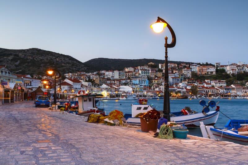 Samos island in Greece. Picturesque Pythagorio town on Samos island, Greece stock images