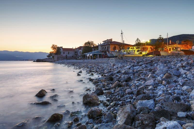 Samos island in Greece. Pythagorio, Greece - March 27, 2017: Houses on the coast in Pythagorio town on Samos island, Greece. n royalty free stock photo