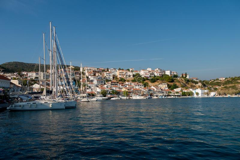 Samos island. with boats in the sea and sight on the harbor stock images
