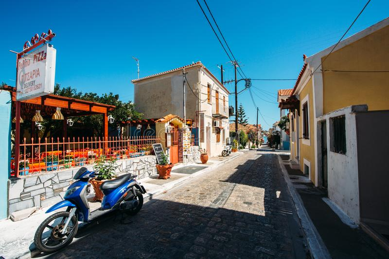 Pythagorio. Samos island, Greece - September 13, 2017: Beautiful old street in Pythagorio on Samos Island in Greece stock photography