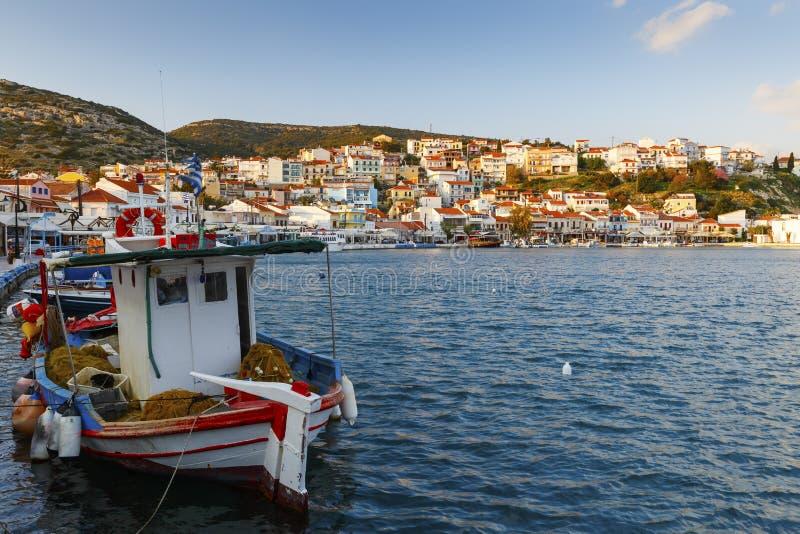 Samos Island. Harbor of Pythagorio town on Samos island, Greece stock image