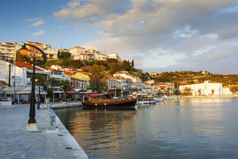 Samos Island. Harbor of Pythagorio town on Samos island, Greece stock photos