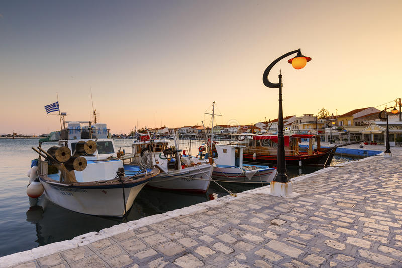 Samos Island. Harbor of Pythagorio town on Samos island, Greece stock images