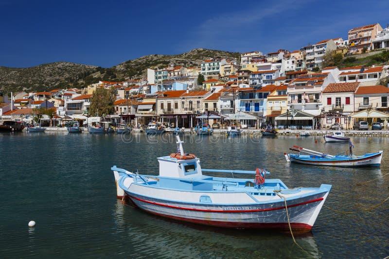 Samos island. Harbour of Pythagorio town on Samos island, Greece stock photo