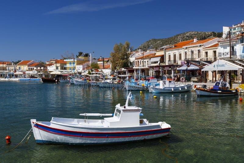 Samos island. Harbour of Pythagorio town on Samos island, Greece stock photography