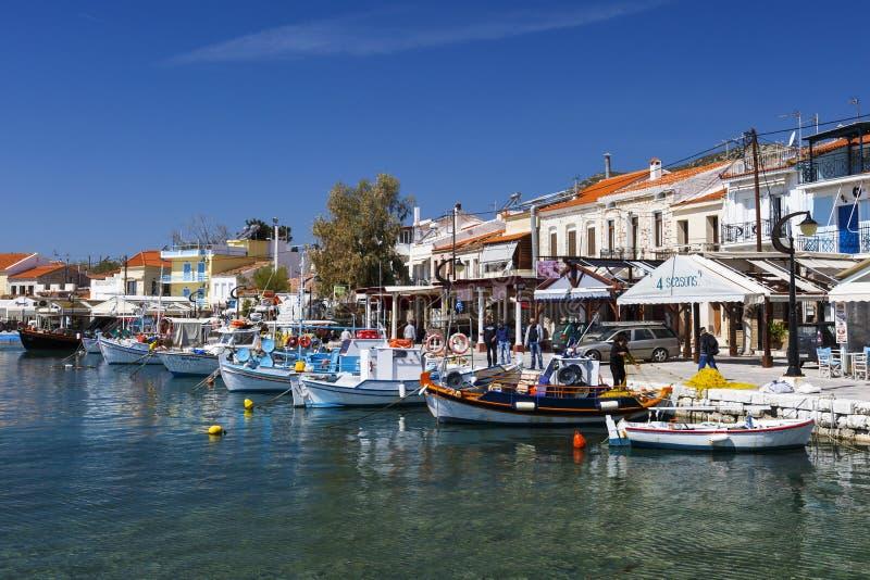 Samos island. Harbour of Pythagorio town on Samos island, Greece royalty free stock photo