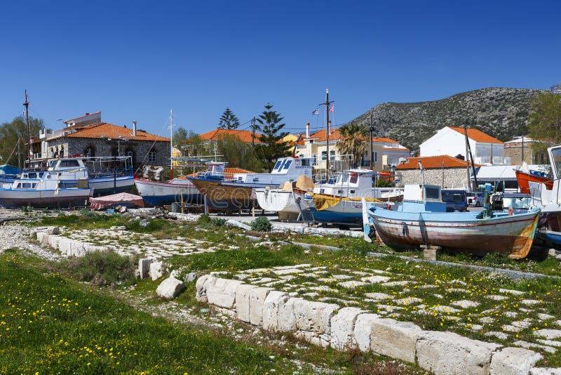 Samos island. Harbour of Pythagorio town on Samos island, Greece royalty free stock photography