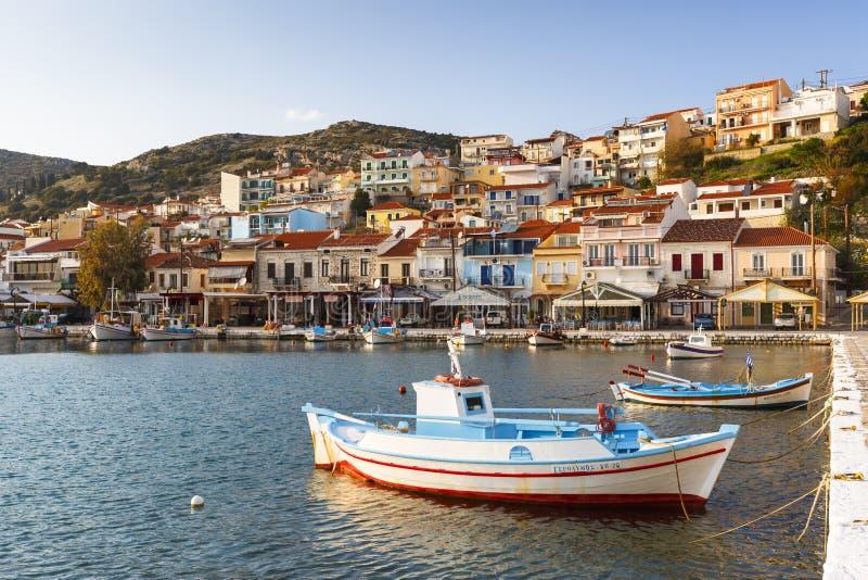 Samos island. Harbour of Pythagorio town on Samos island, Greece royalty free stock photos