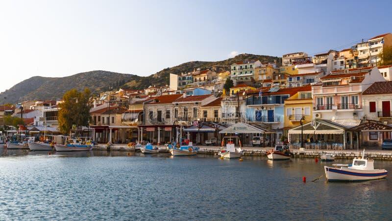 Samos island. Harbour of Pythagorio town on Samos island, Greece stock images
