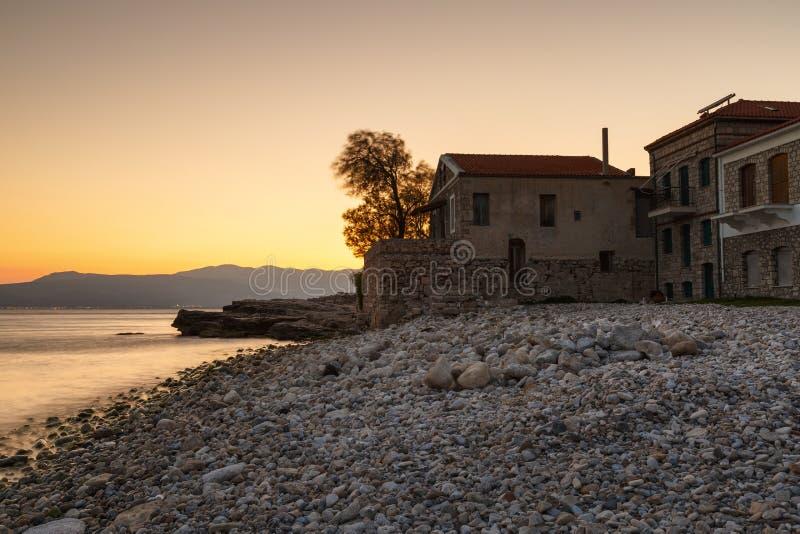 Samos Island. Houses on the coast in Pythagorio town on Samos island, Greece royalty free stock images