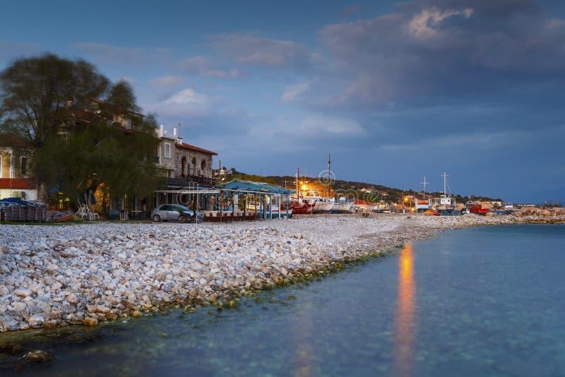 Samos Island. Houses on the coast in Pythagorio town on Samos island, Greece stock photos