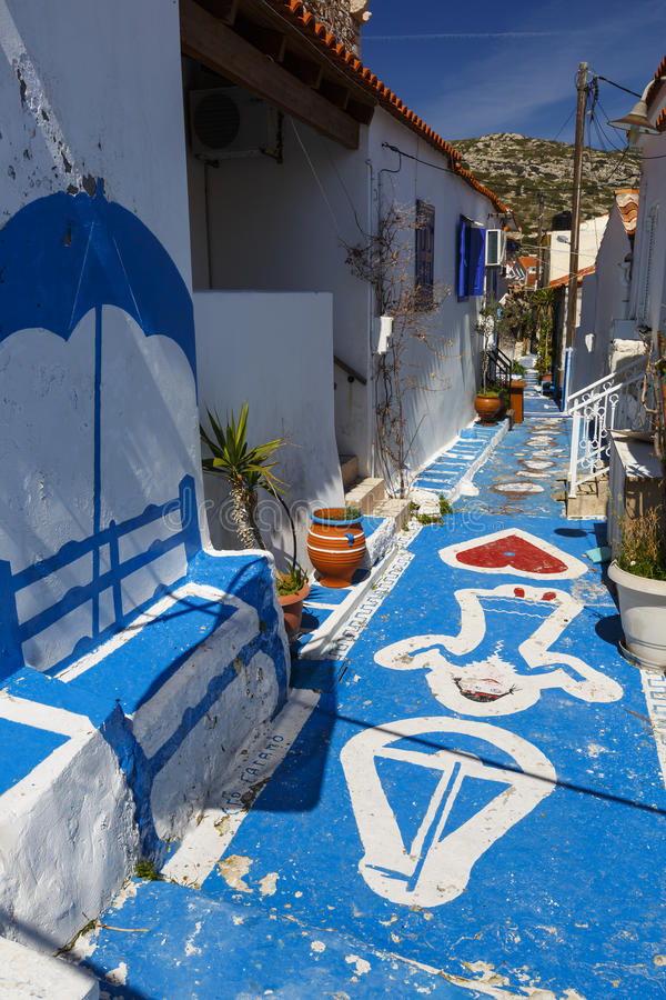 Samos island. Painted street in Pythagorio town on Samos island, Greece stock photo