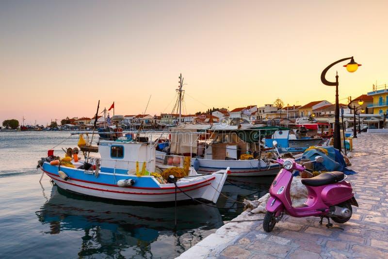 Samos Island. Pythagorio, Greece - March 27, 2017: Harbor of Pythagorio town on Samos island, Greece royalty free stock images