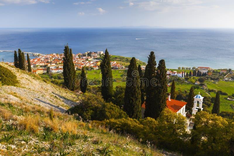 Samos island. Pythagorio town on Samos island, Greece, as seen from a nearby hill royalty free stock photography