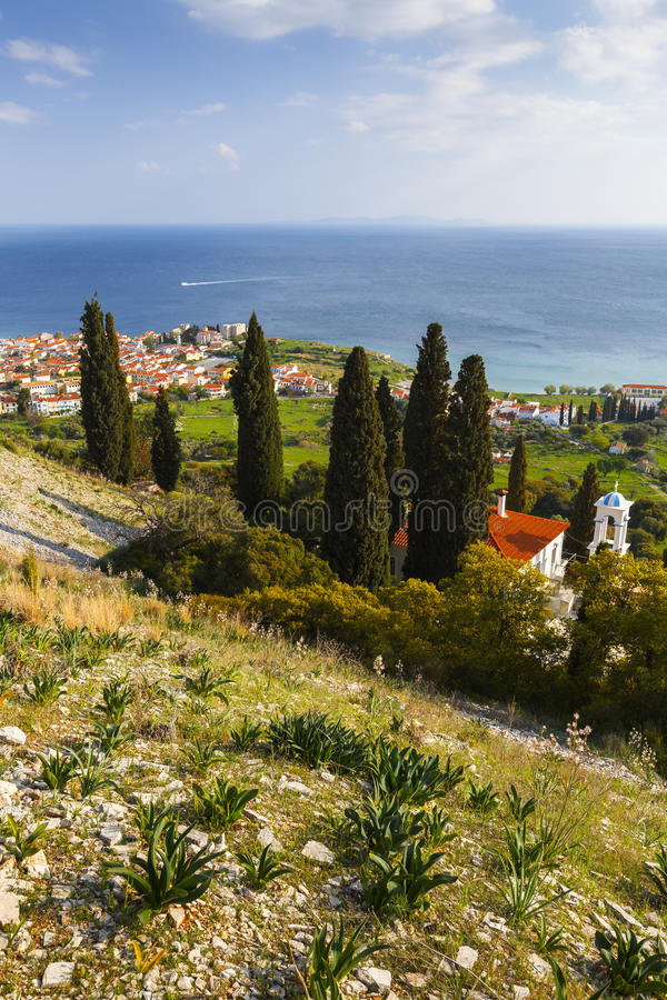 Samos island. Pythagorio town on Samos island, Greece, as seen from a nearby hill stock photo