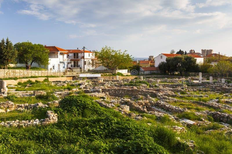 Samos island. Remains of ancient Pythagorio town on Samos island, Greece royalty free stock images