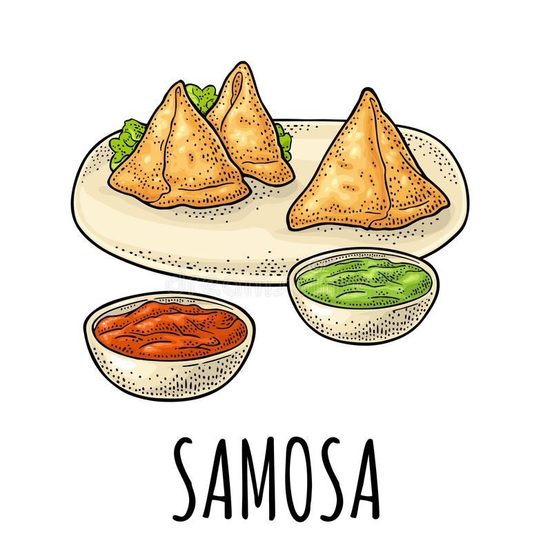 Samosa on board with sauces in bowl. Vector color engraving. Samosa on plate with sauces in bowl. Indian traditional food. Vector color vintage engraving stock illustration