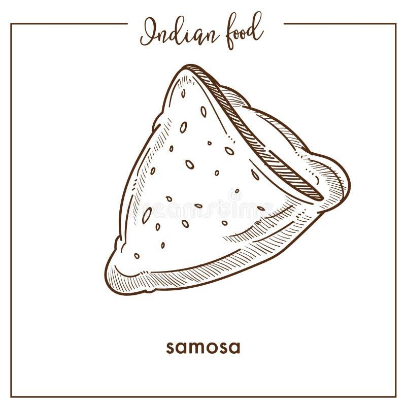 Samosa triangular curruscante delicioso de la comida india tradicional ilustración del vector