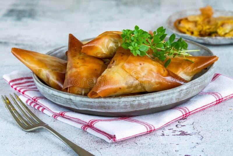 Samosas κοτόπουλου με το αμύγδαλο και το βερίκοκο στοκ φωτογραφίες με δικαίωμα ελεύθερης χρήσης