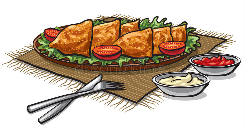Samosas indianos do alimento ilustração do vetor