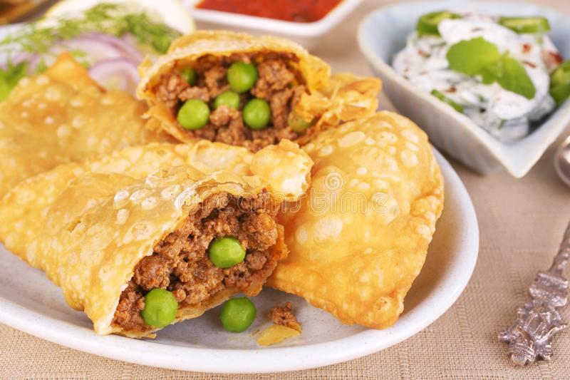 Samosas With Spicy Lamb stock images