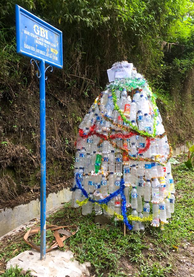 Christmas tree made from plastic bottles stock photography