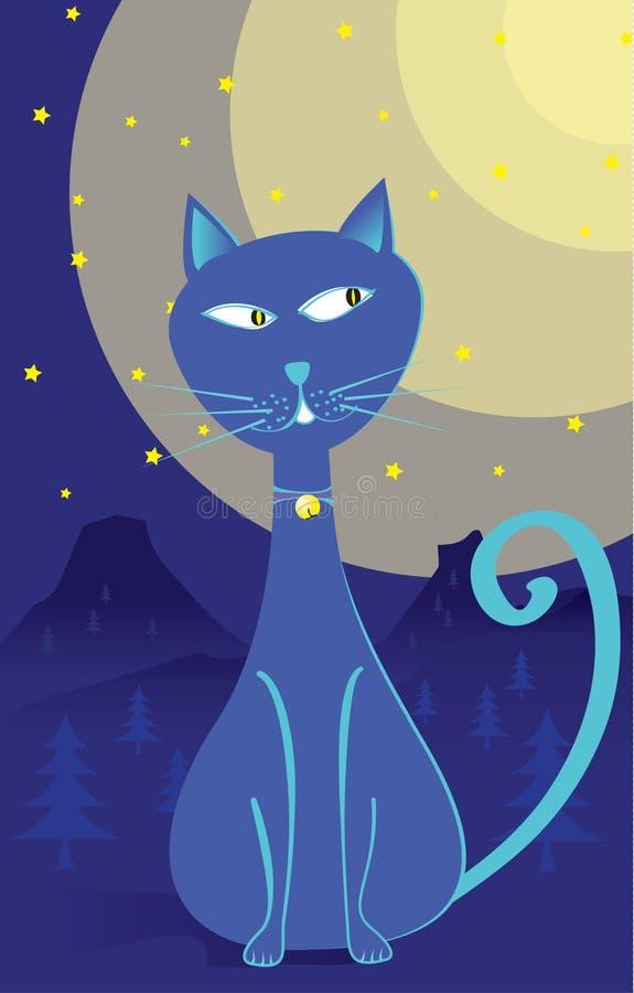 samotna błękitny kreskówki kota noc ilustracji