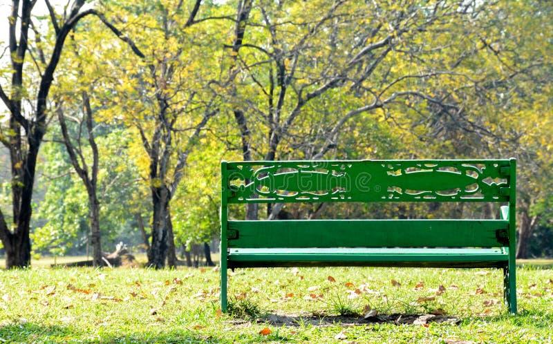 Samotna drewniana ławka w parku zdjęcia royalty free