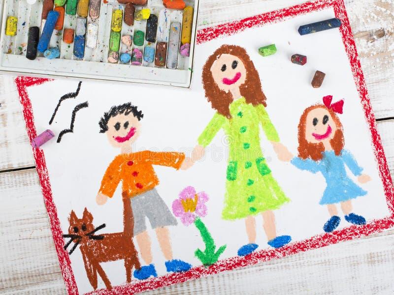Samotna matka i dzieciaki ilustracji
