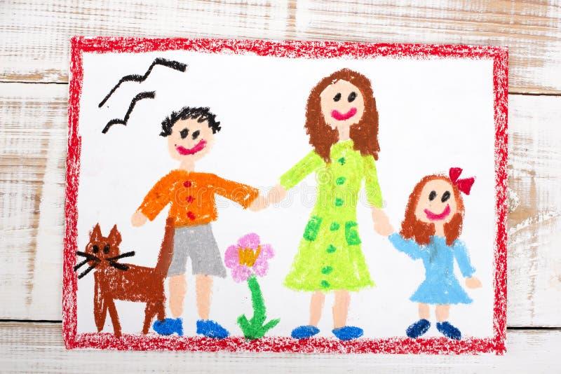 Samotna matka i dzieciaki royalty ilustracja