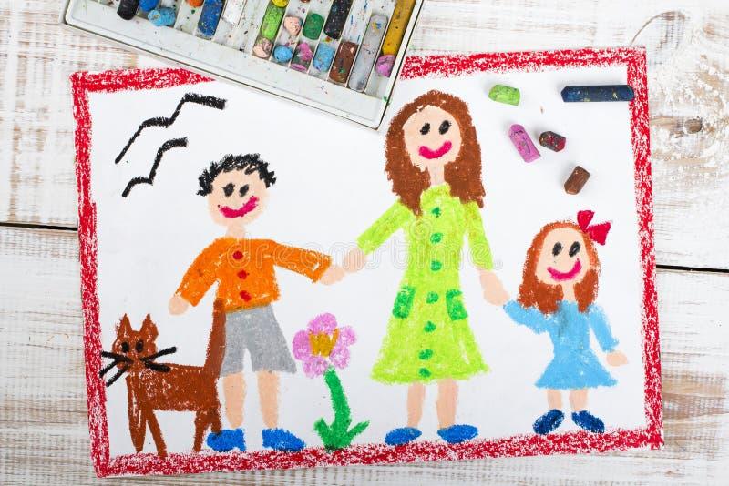 Samotna matka i dzieciaki ilustracja wektor