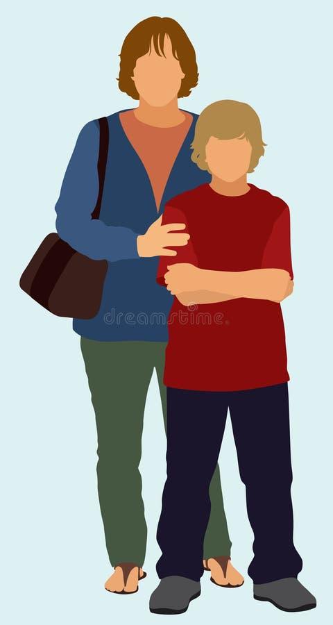 Samotna Matka i syn Bez ojca ilustracji