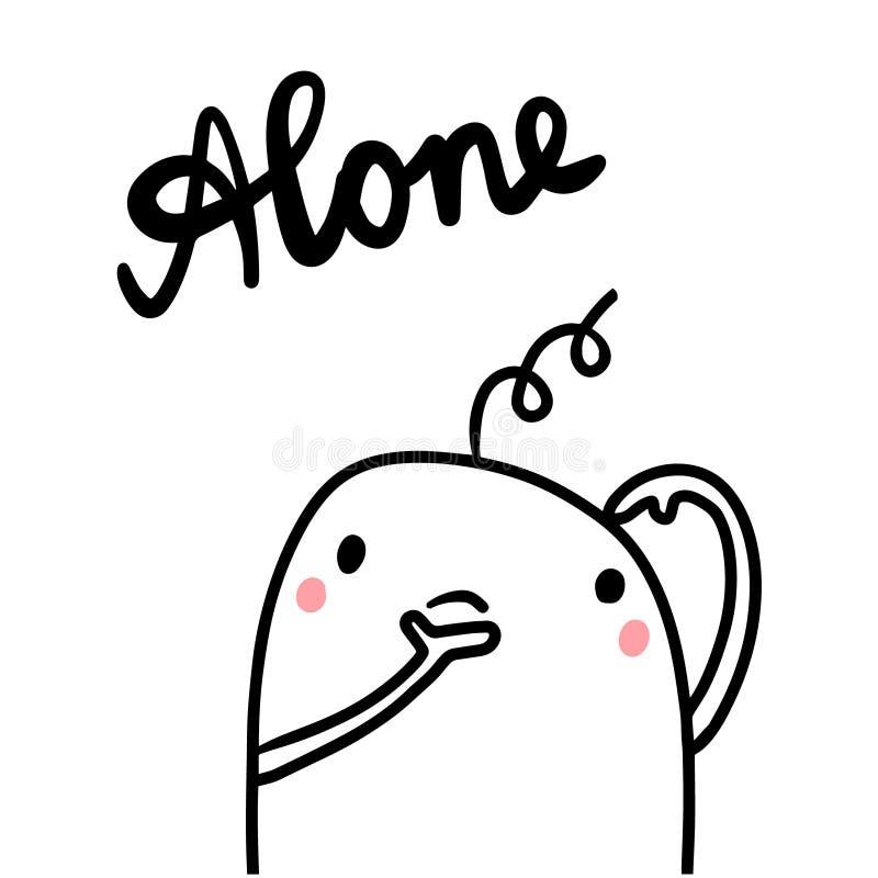 Samotna ręka rysująca ilustracja z ślicznym marshmallow ilustracja wektor