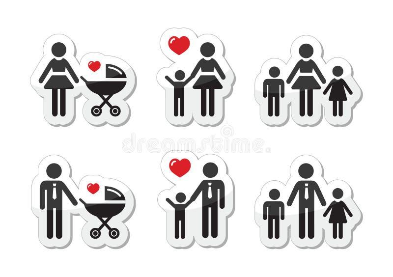 Samotnego rodzica znak - rodzinne ikony jak etykietki ilustracja wektor
