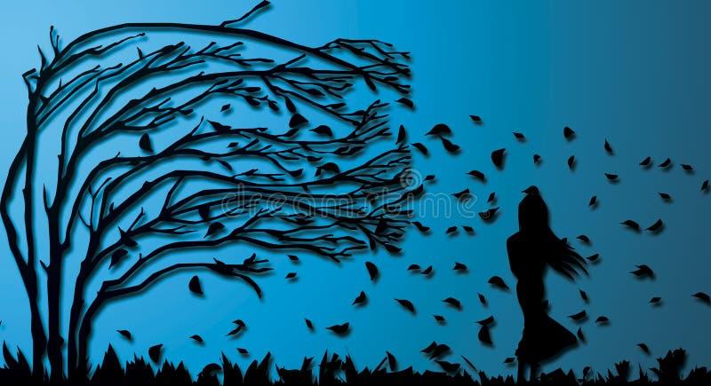 Samotni dziewczyny ściany projekty ilustracja wektor