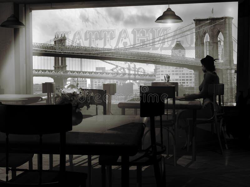 Samotnie przy kawiarnią ilustracja wektor