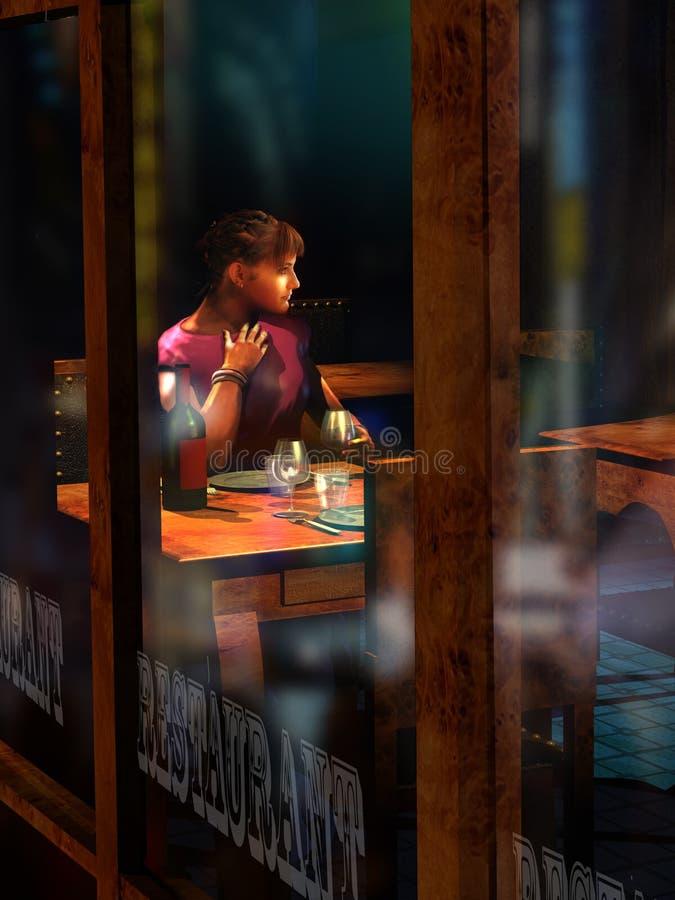 Samotnie przy restauracją przy nocą royalty ilustracja